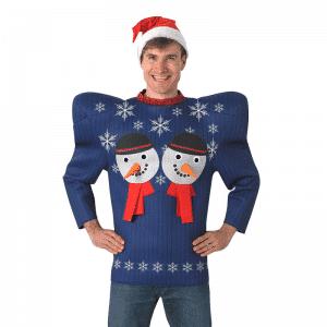 Bredskuldret Snemand Jule Sweater